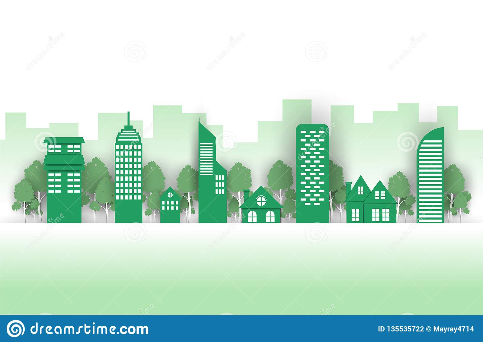 Grön stad på en grön bakgrund, Eco stad