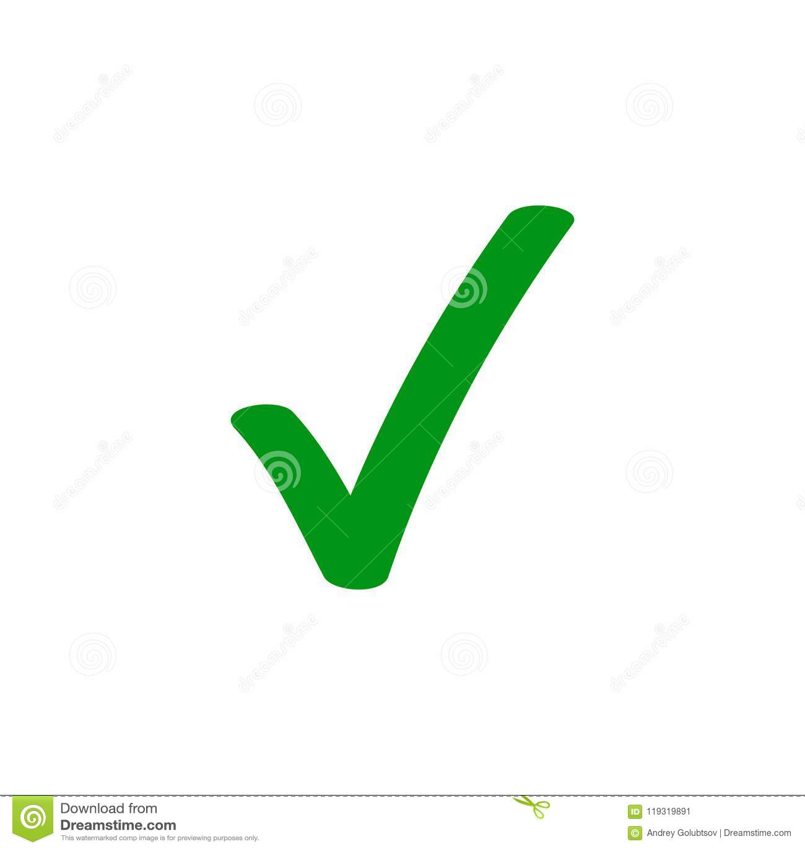 Grön symbol för fästingcheckmarkvektor