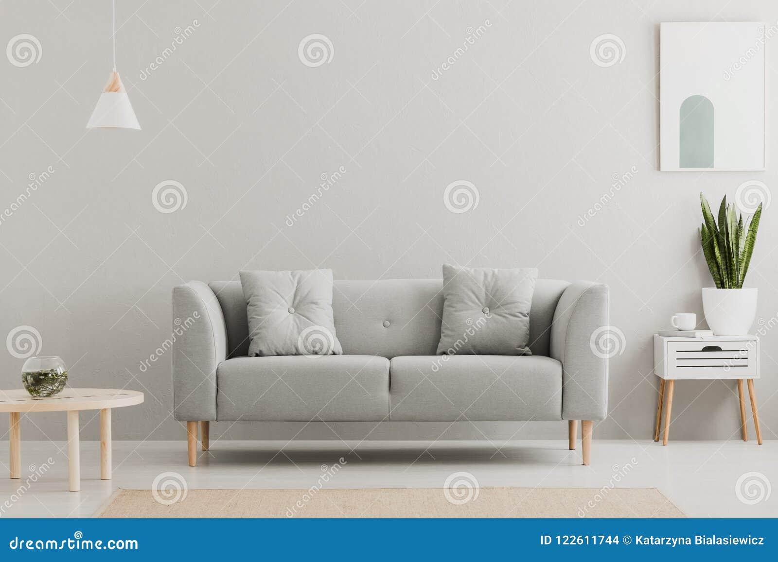 Grön växt på ett scandinavian kabinett med enheten och en hemtrevlig soffa med kuddar i en grå färg, enkel vardagsruminre med stä