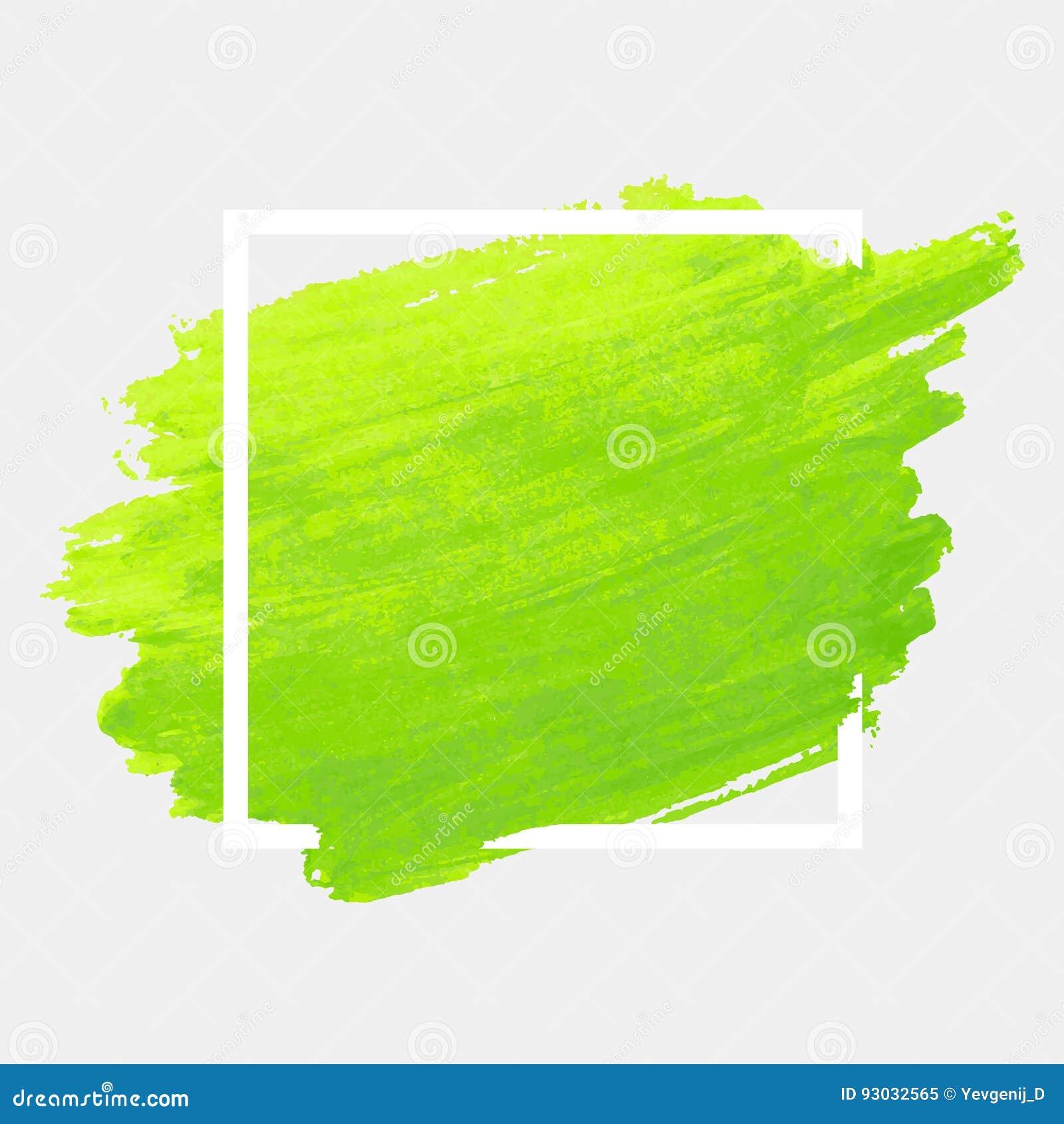 Grön vattenfärgslaglängd med den vita ramen För bakgrundsborste för Grunge abstrakt textur för målarfärg