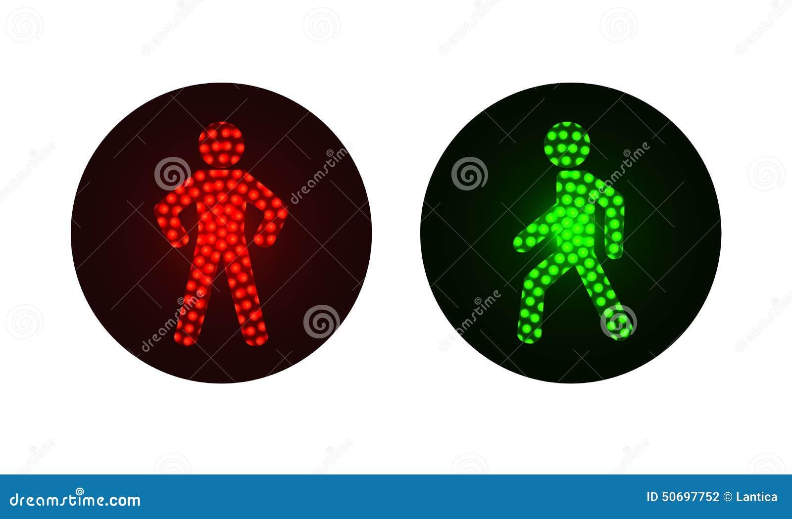 Gröna fot- trafikljus som är röda och