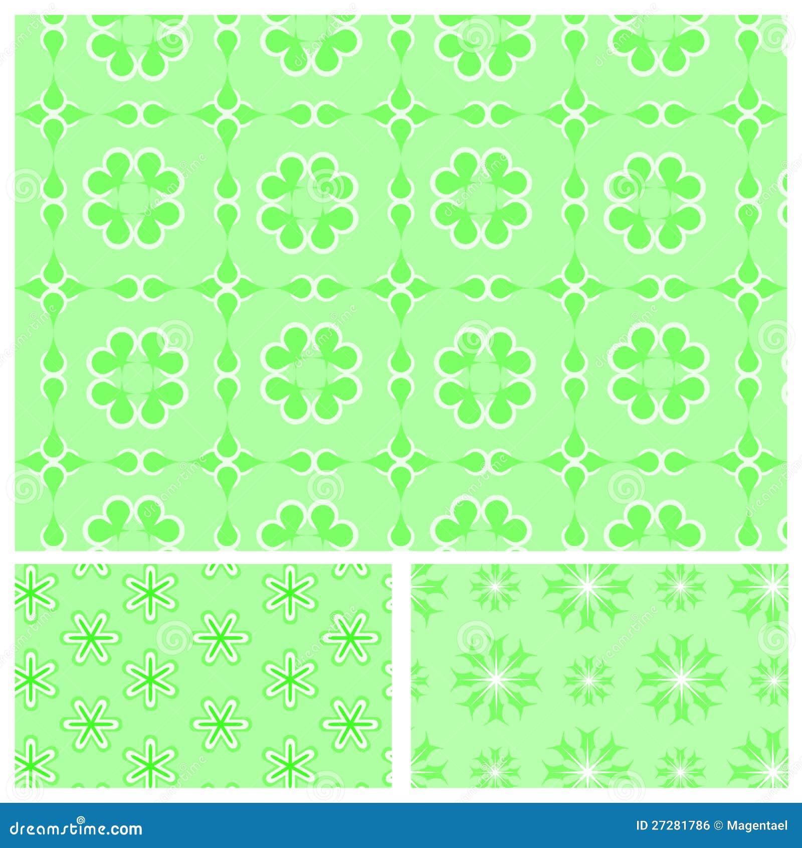 Gröna seamless mönstrar med snowflakes