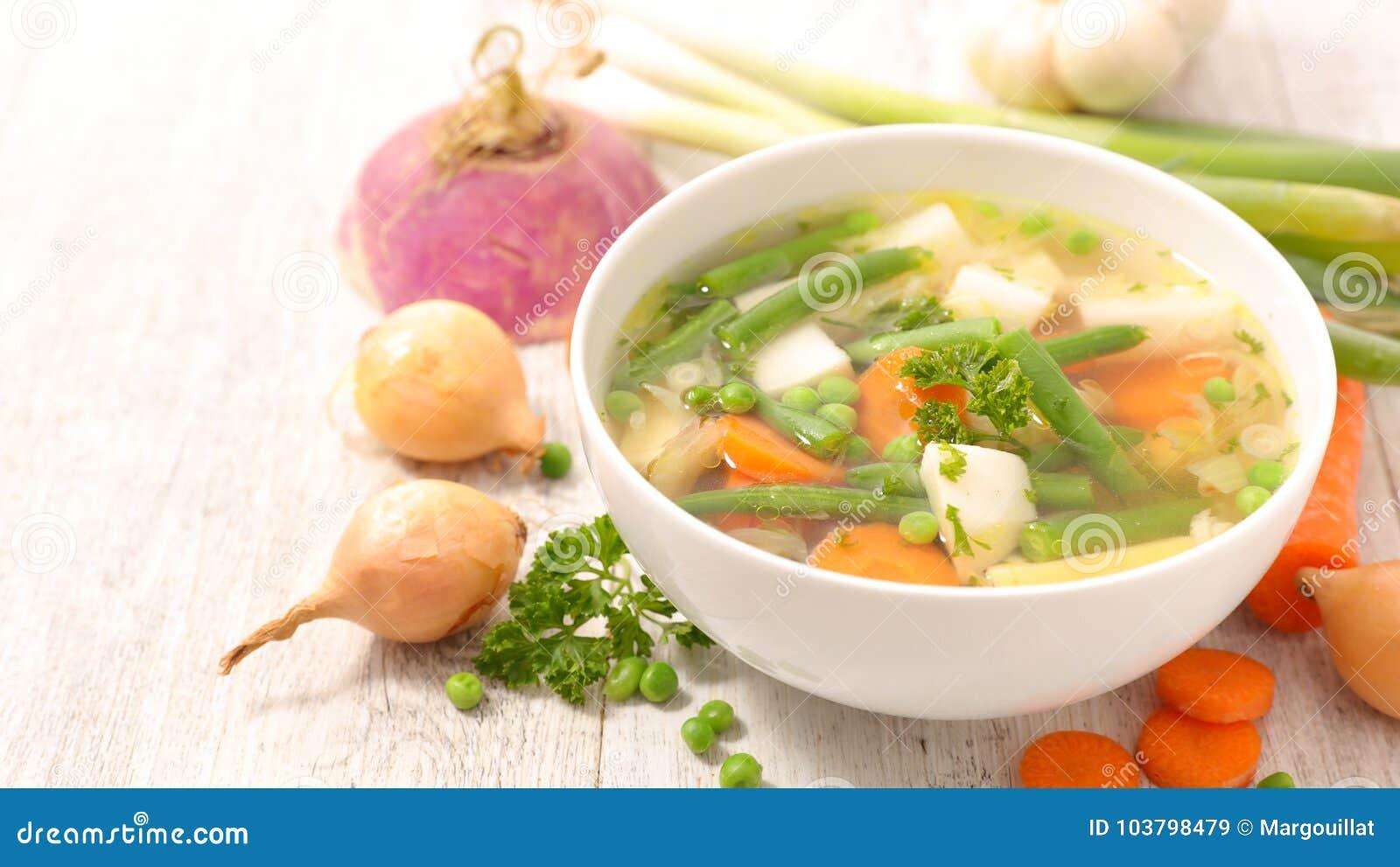 Grönsak för soup för fokusmakro grund