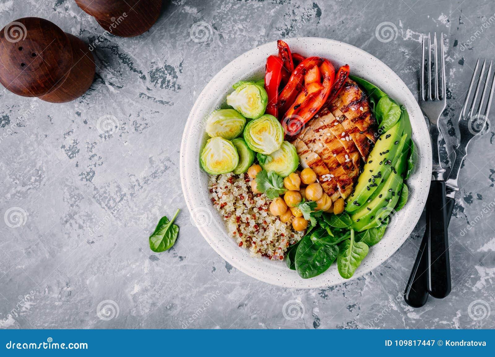 Grönsakbunkelunch med grillad höna och quinoa, spenat, avokado, brussels groddar, paprika och kikärt