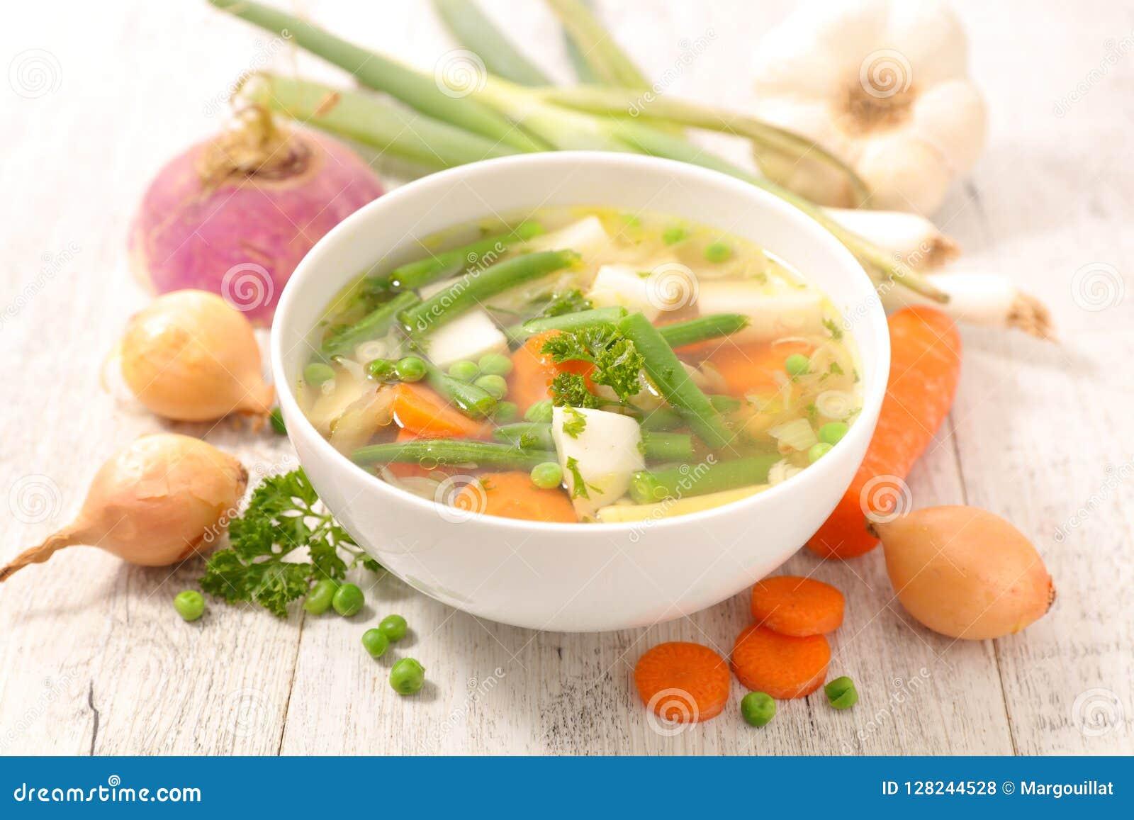 Grönsaksoppa och ingrediens