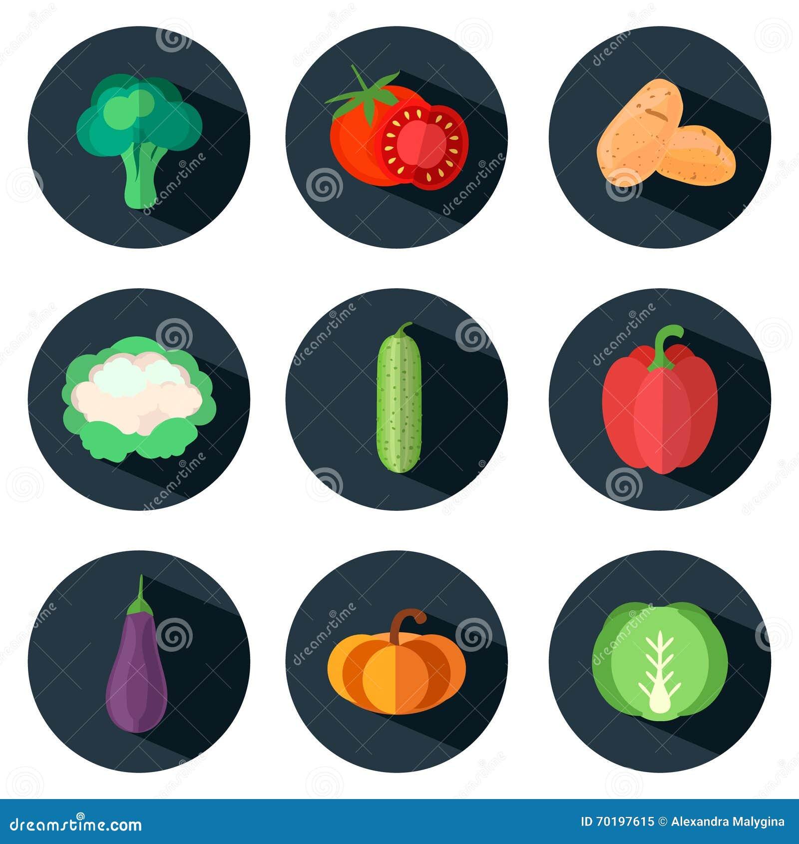 Grönsaksymboler i plan stil