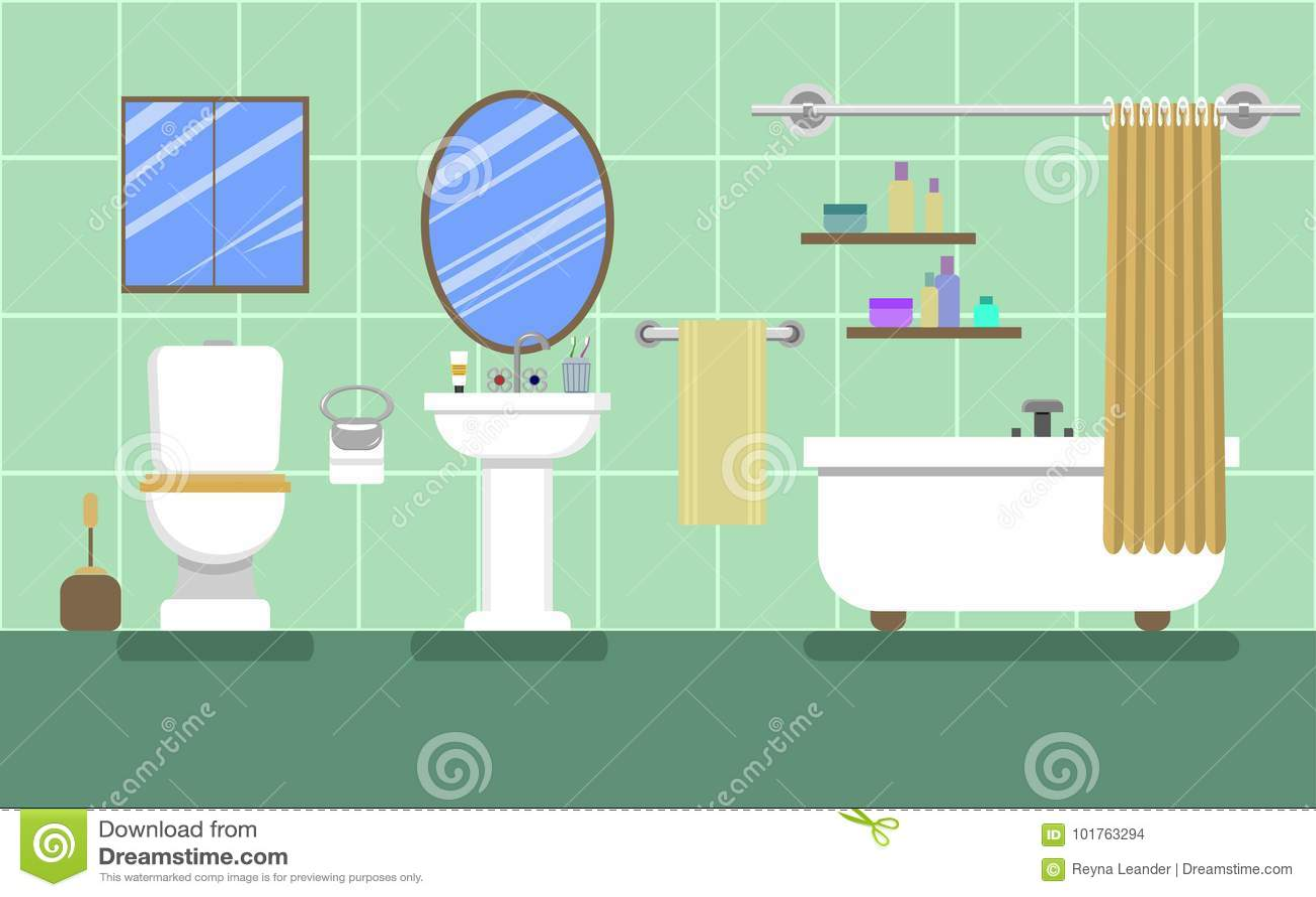 Grönt badrum med möblemang