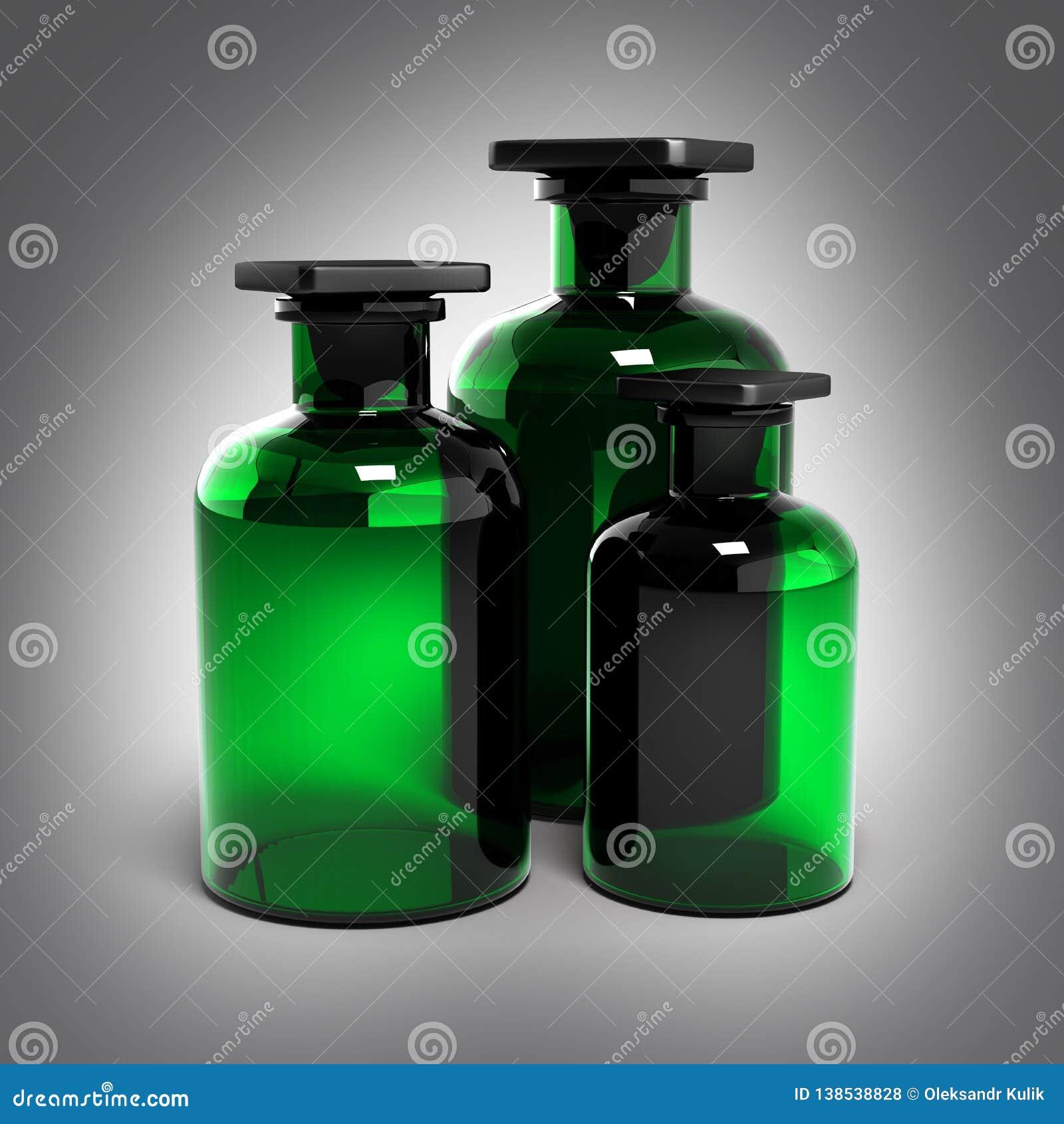 Grönt exponeringsglas på grå lutningbakgrund 3d