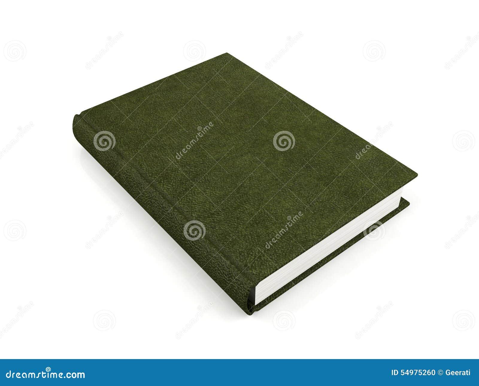 Grönt läder täckt bok som isoleras på vit