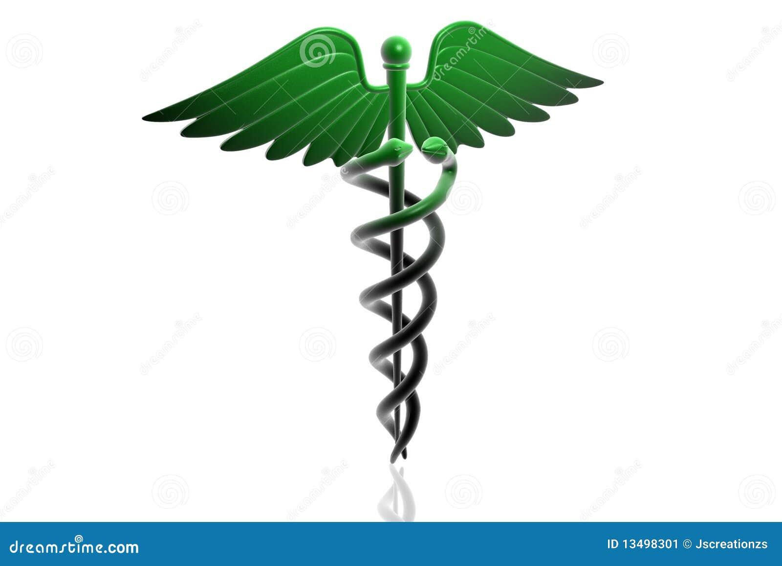 Grönt medicinskt tecken för caduceus
