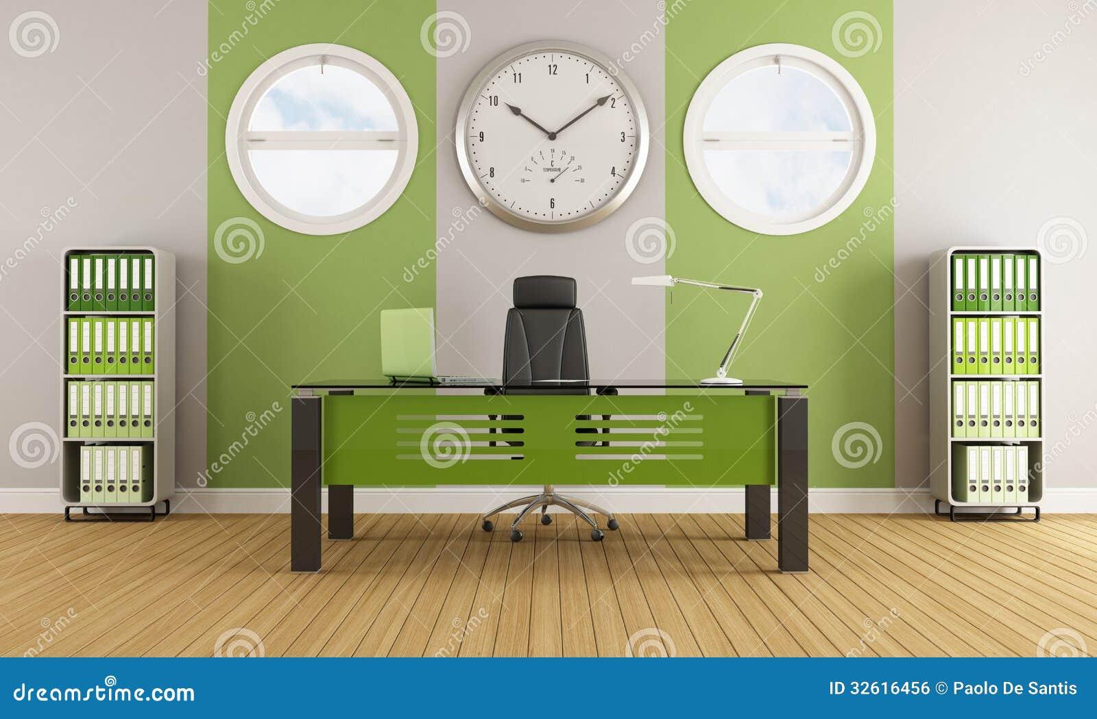 Grönt modernt kontor