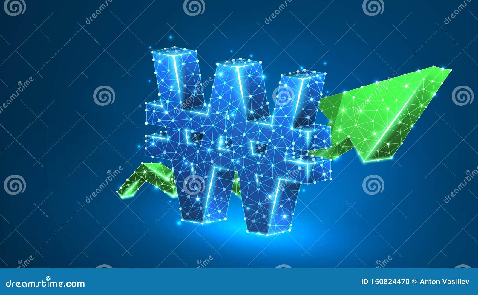 Grönt pildiagram för tillväxt, sydkoreanskt segrat valutatecken, Polygonal framgång, datafinansbegrepp Abstrakt digitalt, wirefra