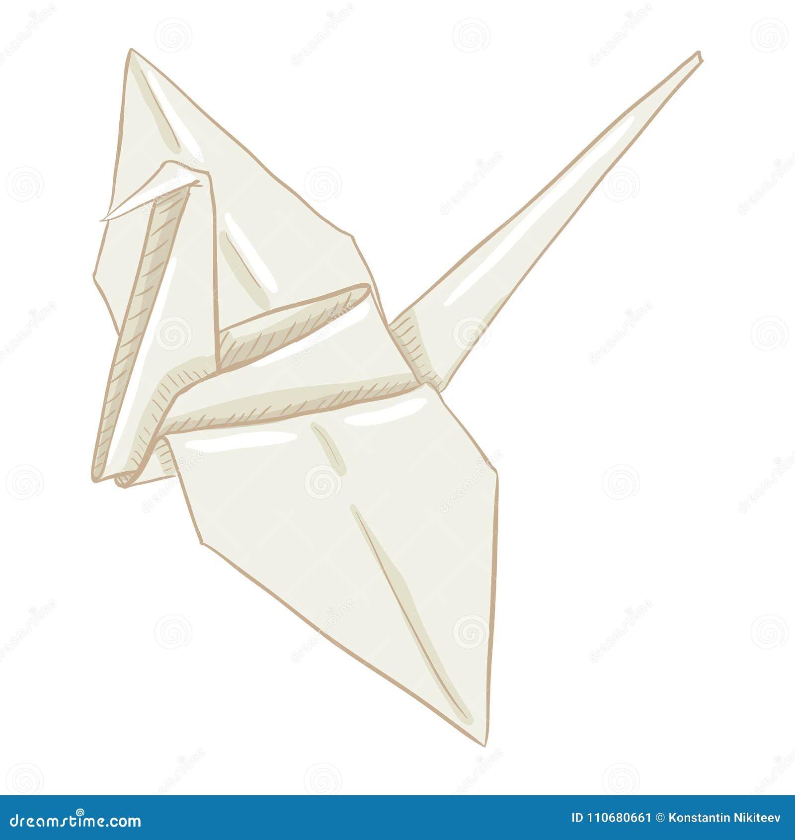 Grúa del Libro Blanco de la papiroflexia del vector