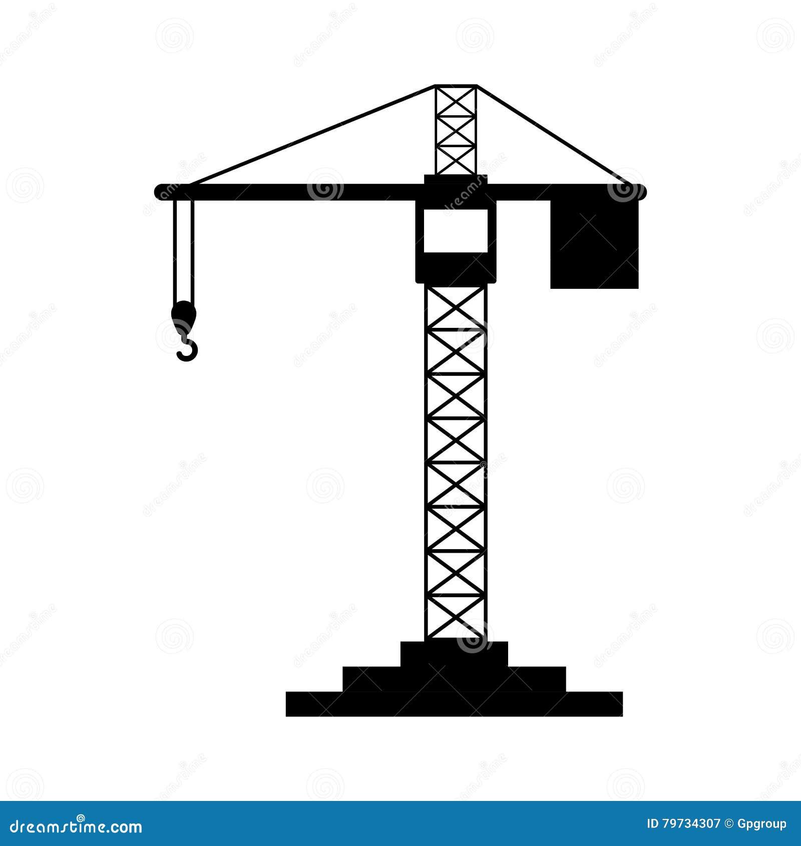Grúa negro de la construcción de la silueta