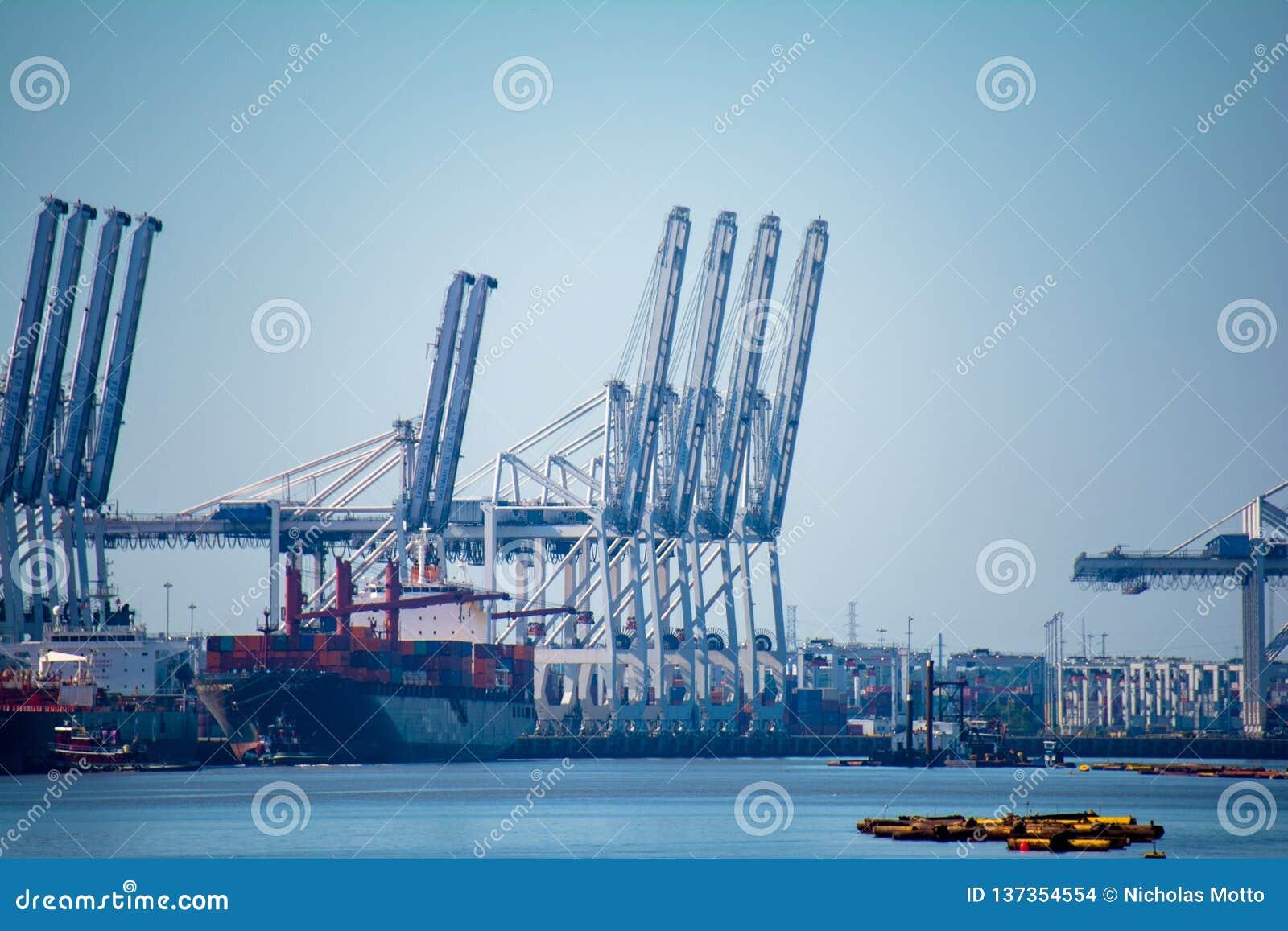 Grúas del cargo que descargan las naves