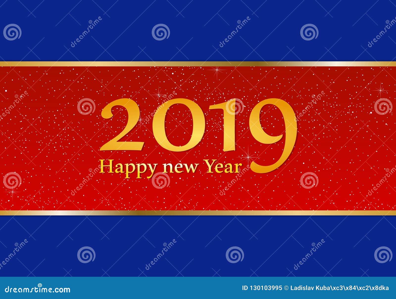 Grüße Des Neuen Jahres Für Jahr 2019 Mit Hellem Blauem Hintergrund ...