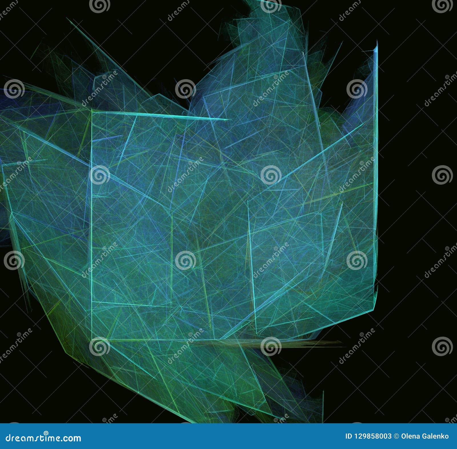 Grün-blaue abstrakte Fractalbeschaffenheit auf schwarzem Hintergrund Fantasie Fractalbeschaffenheit Tiefrote Rotation Digital-Art