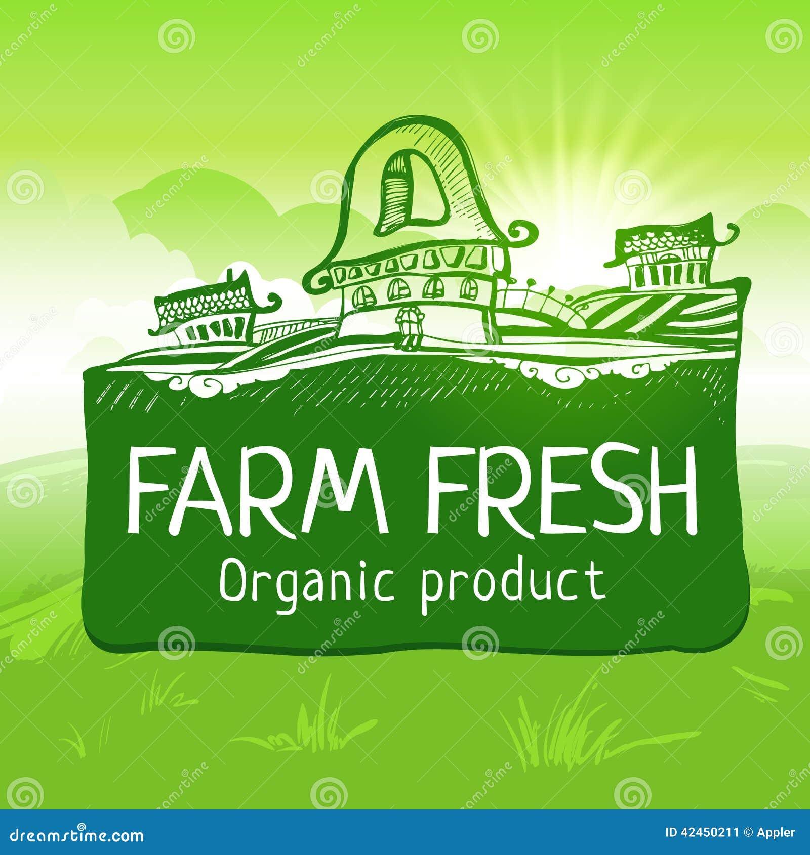 Grün färbte neuen Produktaufkleber des Bauernhofes