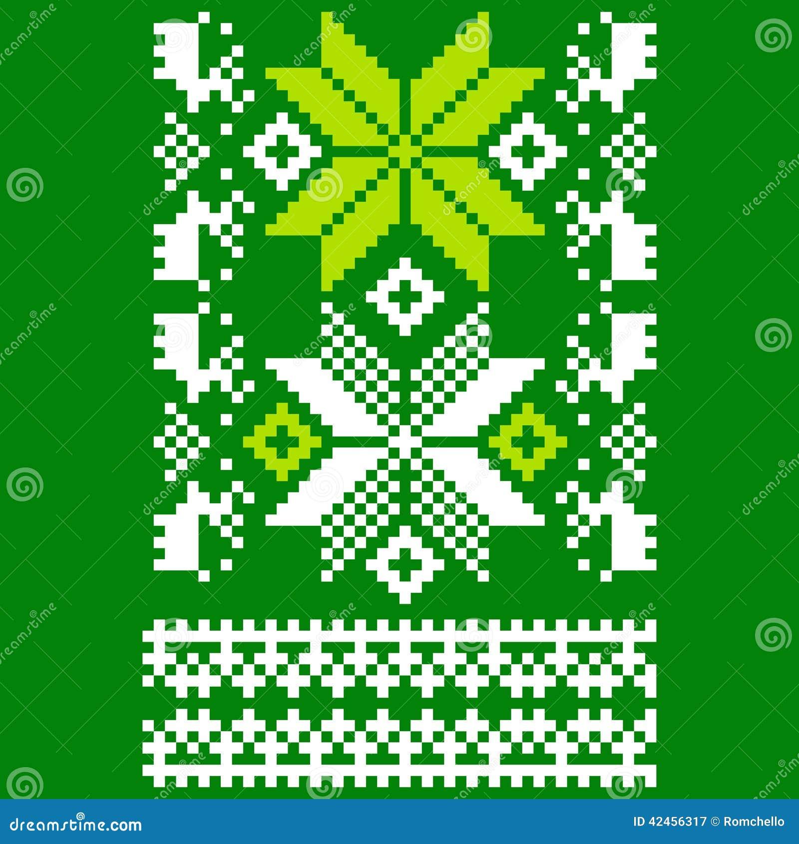 Grün gestrickter skandinavischer Schal