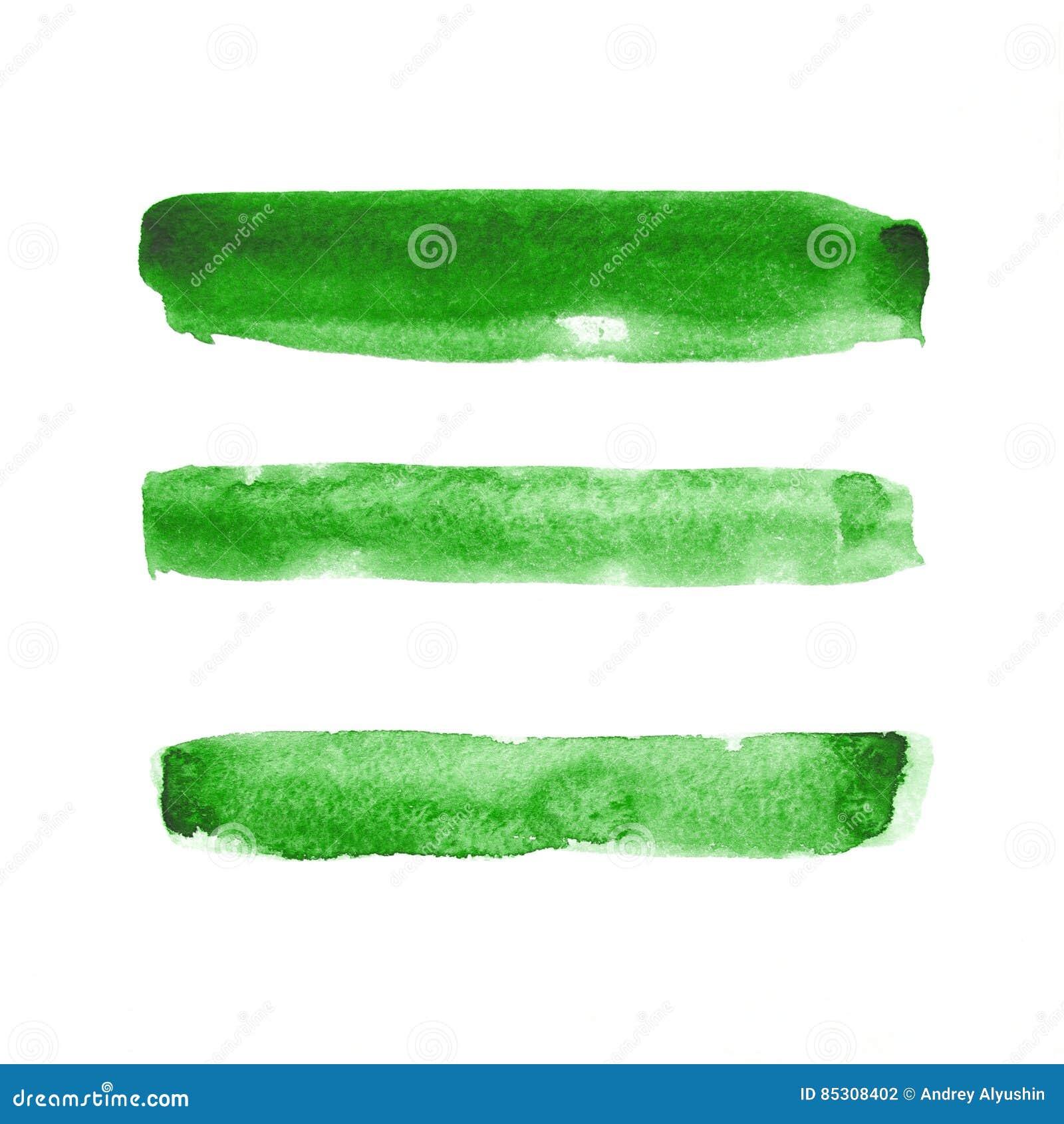 Grün lokalisierte Aquarellstreifen