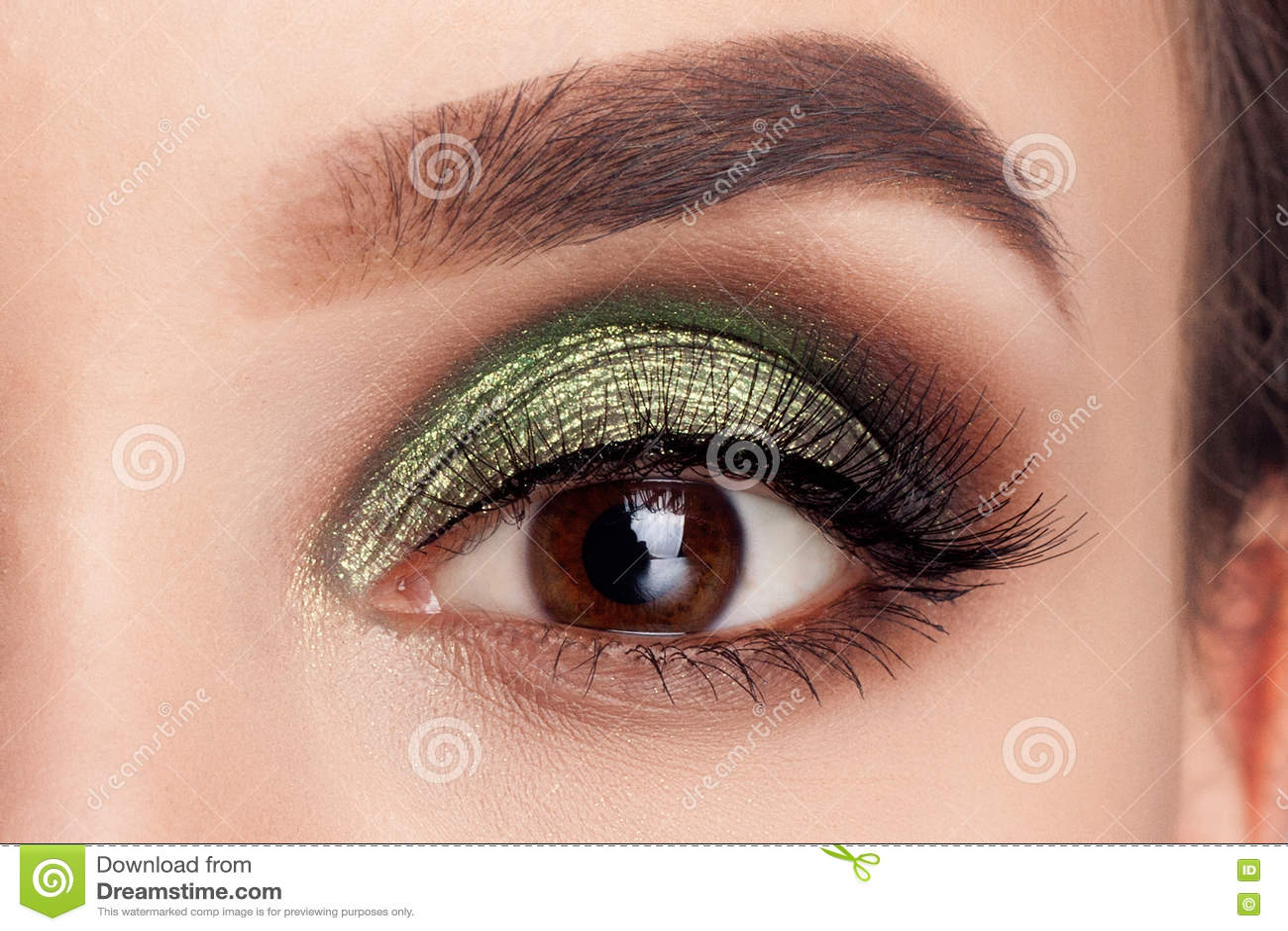 Grüne Augen Des Schönheitsporträtmädchenmodellmakes Up Stockfoto