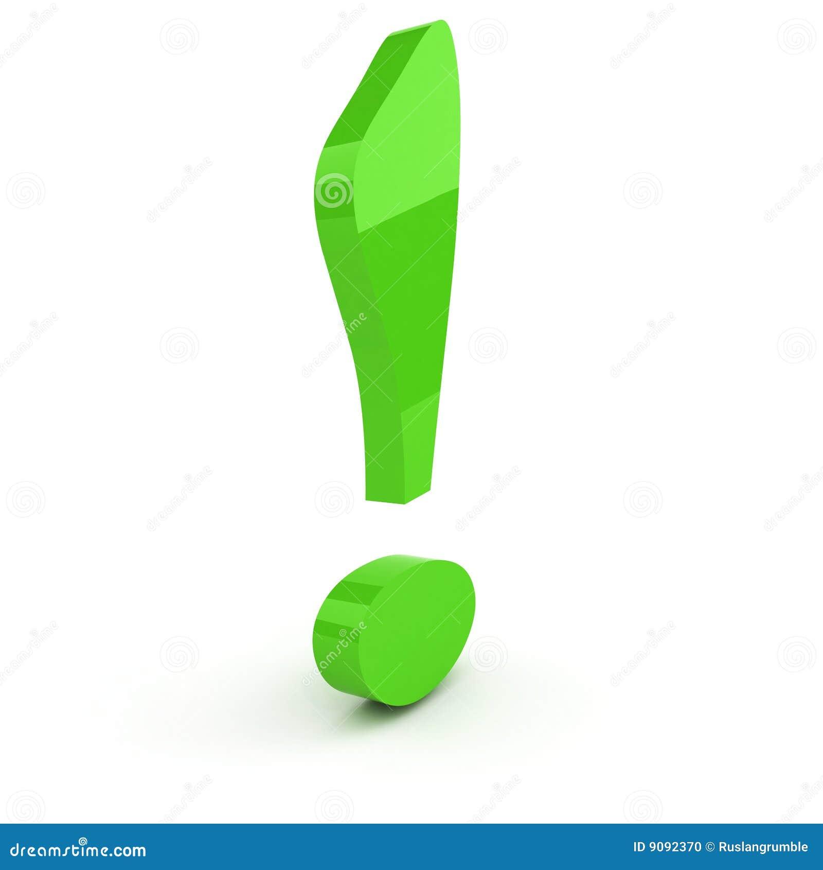 Grüne Ausrufsmarkierung