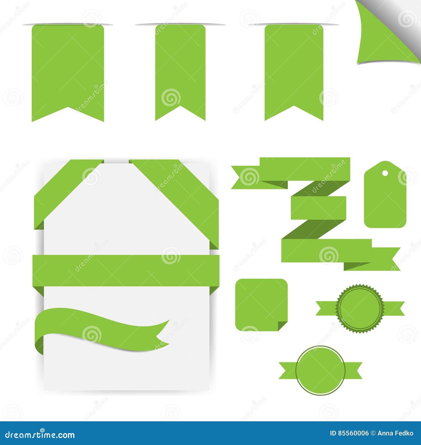 Grüne Bänder eingestellt, lokalisiert auf weißem Hintergrund