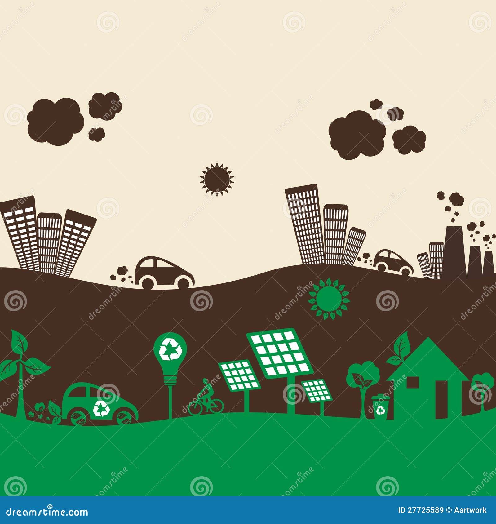 Grüne eco Stadt und beschmutzte Stadt