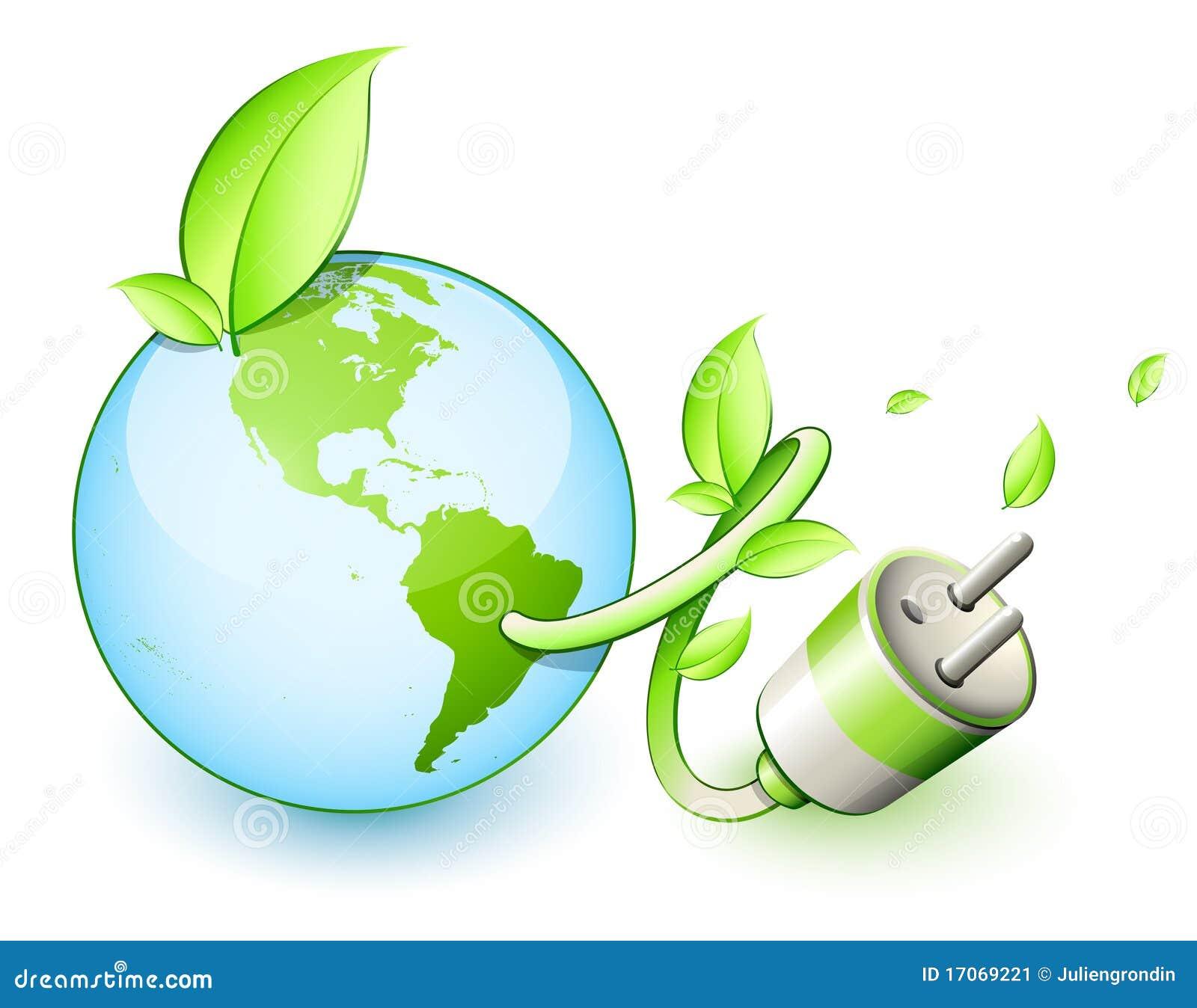 Grüne Erde-elektrischer Bolzen Vektor Abbildung - Illustration von ...