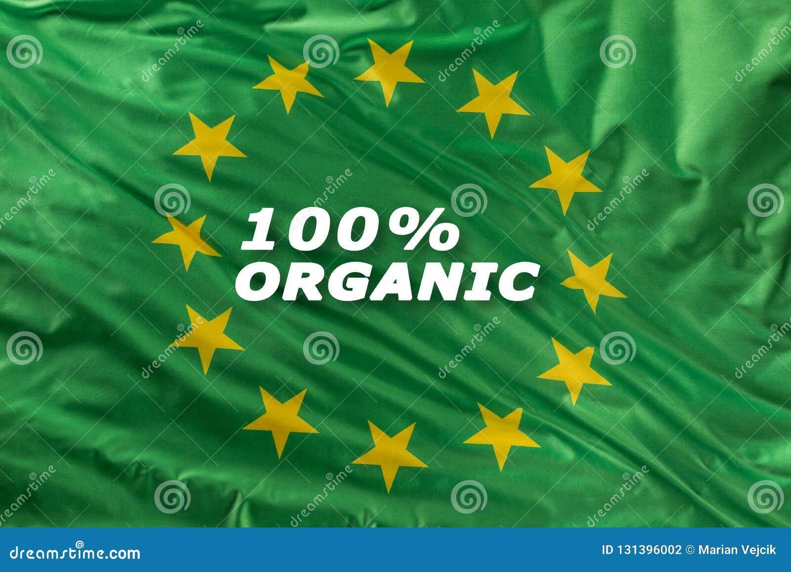 Grüne Flagge der Europäischen Gemeinschaft als Kennzeichen der organischen Bionahrung oder der Ökologie