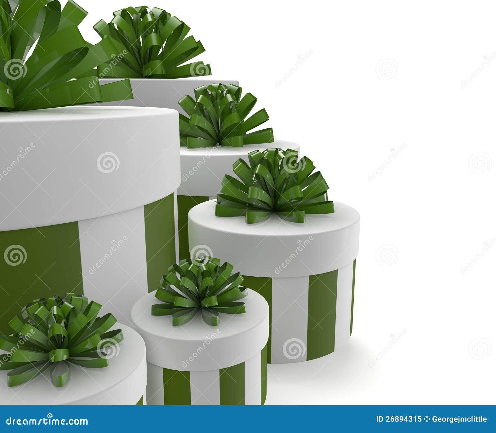 Grüne Geschenke stock abbildung. Illustration von getrennt   26894315