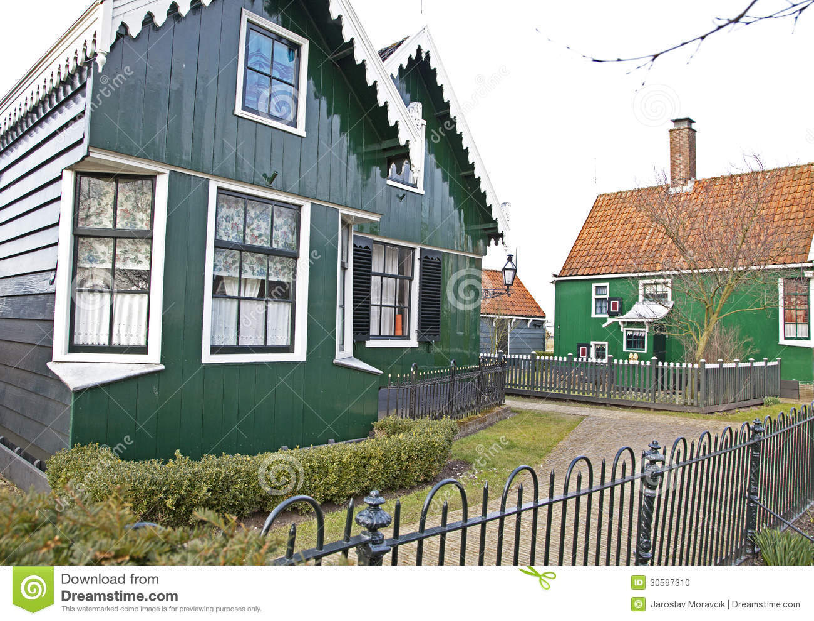 Grüne Häuser In Museum Zaanse Schans Stockfoto - Bild von außen ...