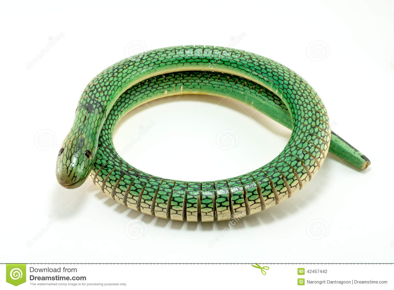 Grüne hölzerne Schlange