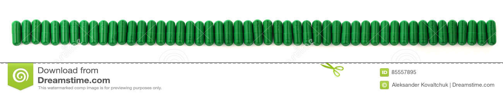 Grüne Kapseln, die in Folge stehen