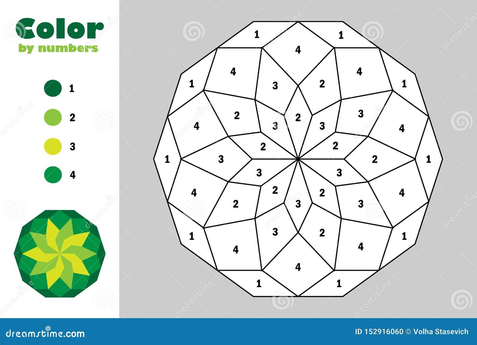 Grüne Mandala in der Karikaturart, Farbe durch Zahl, Ausbildungspapierspiel für die Entwicklung von Kindern, Färbungsseite, Kinde