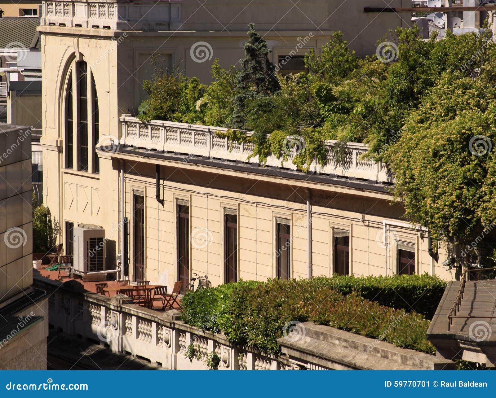 Grune Oase Auf Dem Balkon Stockbild Bild Von Bewolkt 59770701