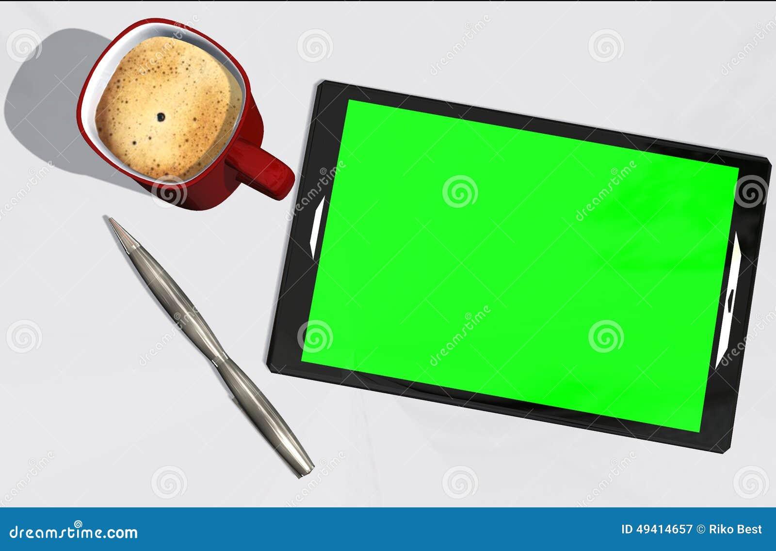Download Grüne Schirmtablet-pc-Kreditkarte Und -Tasse Kaffee Stock Abbildung - Illustration von kaffee, mobilität: 49414657
