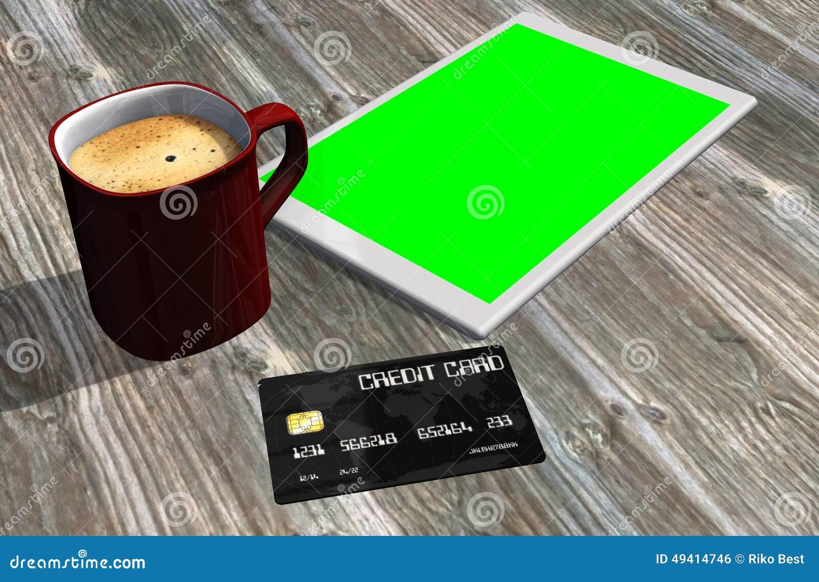 Download Grüne Schirmtablet-pc-Kreditkarte Und -Tasse Kaffee Stock Abbildung - Illustration von internet, schreibtisch: 49414746