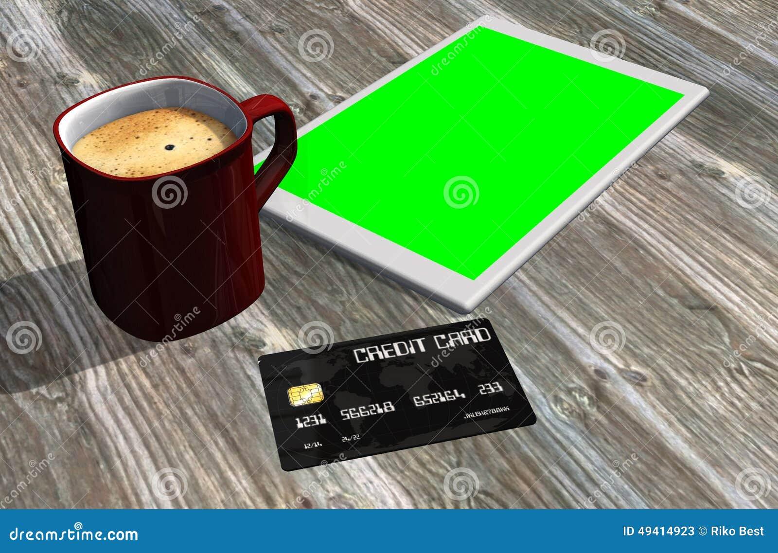 Download Grüne Schirmtablet-pc-Kreditkarte Und -Tasse Kaffee Stock Abbildung - Illustration von geld, plastik: 49414923