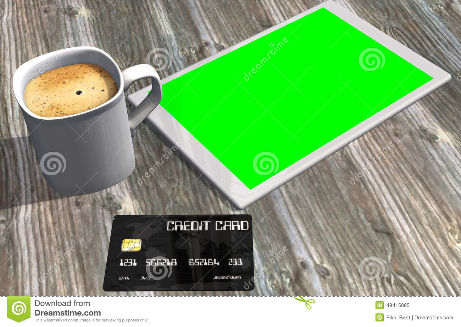 Download Grüne Schirmtablet-pc-Kreditkarte Und -Tasse Kaffee Stock Abbildung - Illustration von beweglich, informationen: 49415085