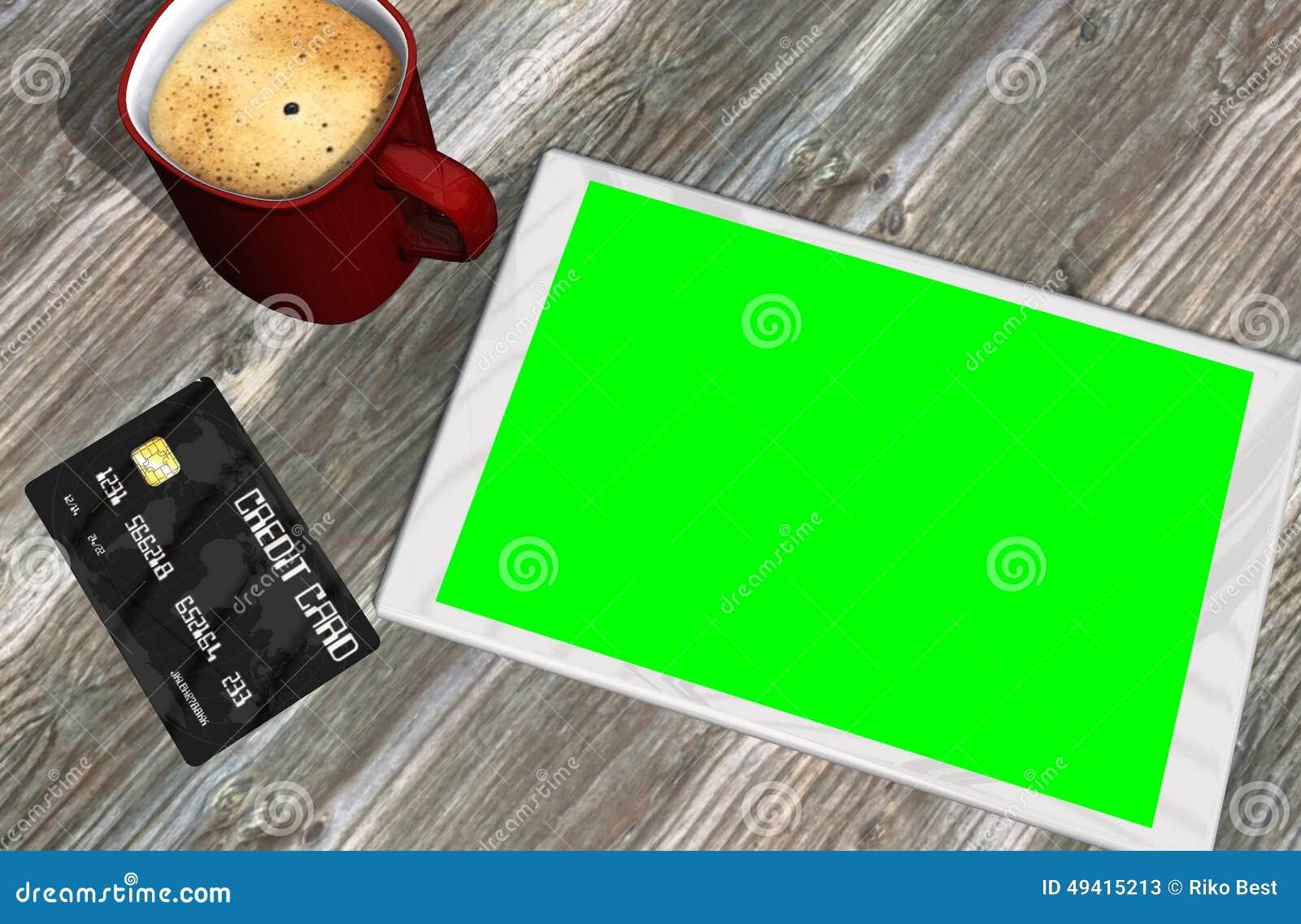 Download Grüne Schirmtablet-pc-Kreditkarte Und -Tasse Kaffee Stock Abbildung - Illustration von sitzung, kommunikation: 49415213