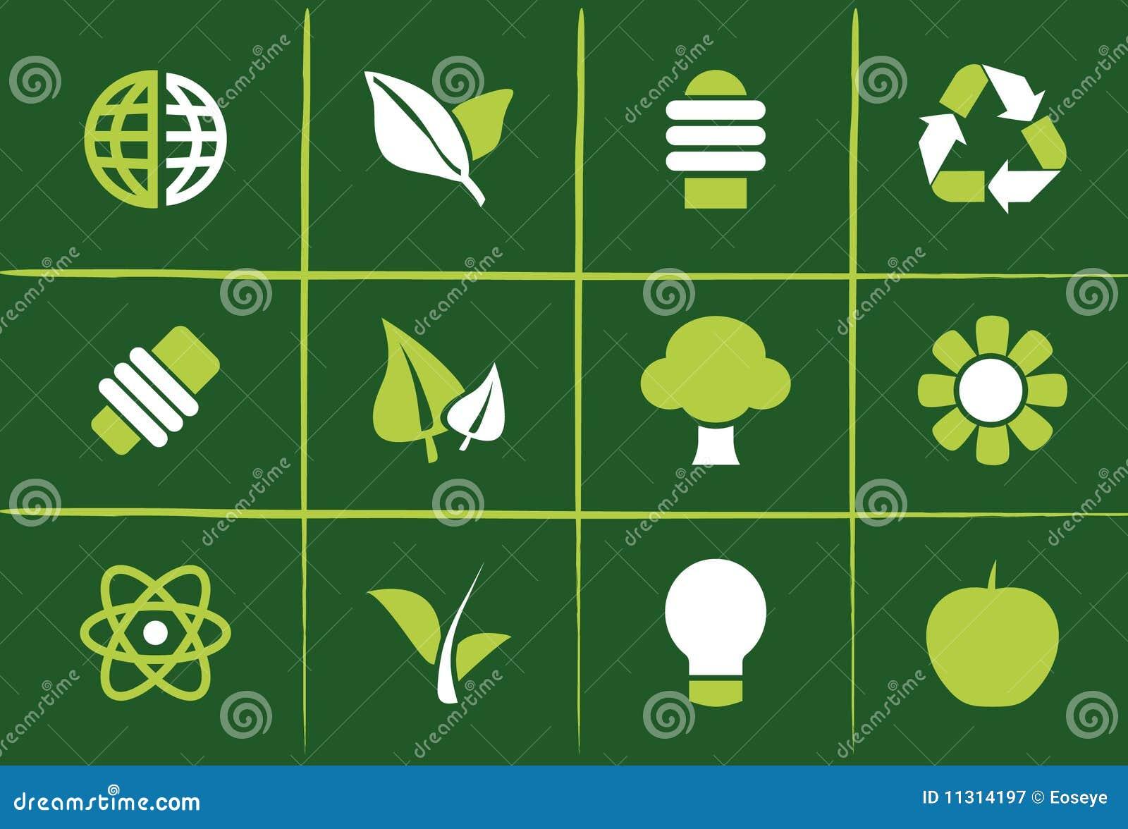 Grüne Umweltikonen und Grafiken