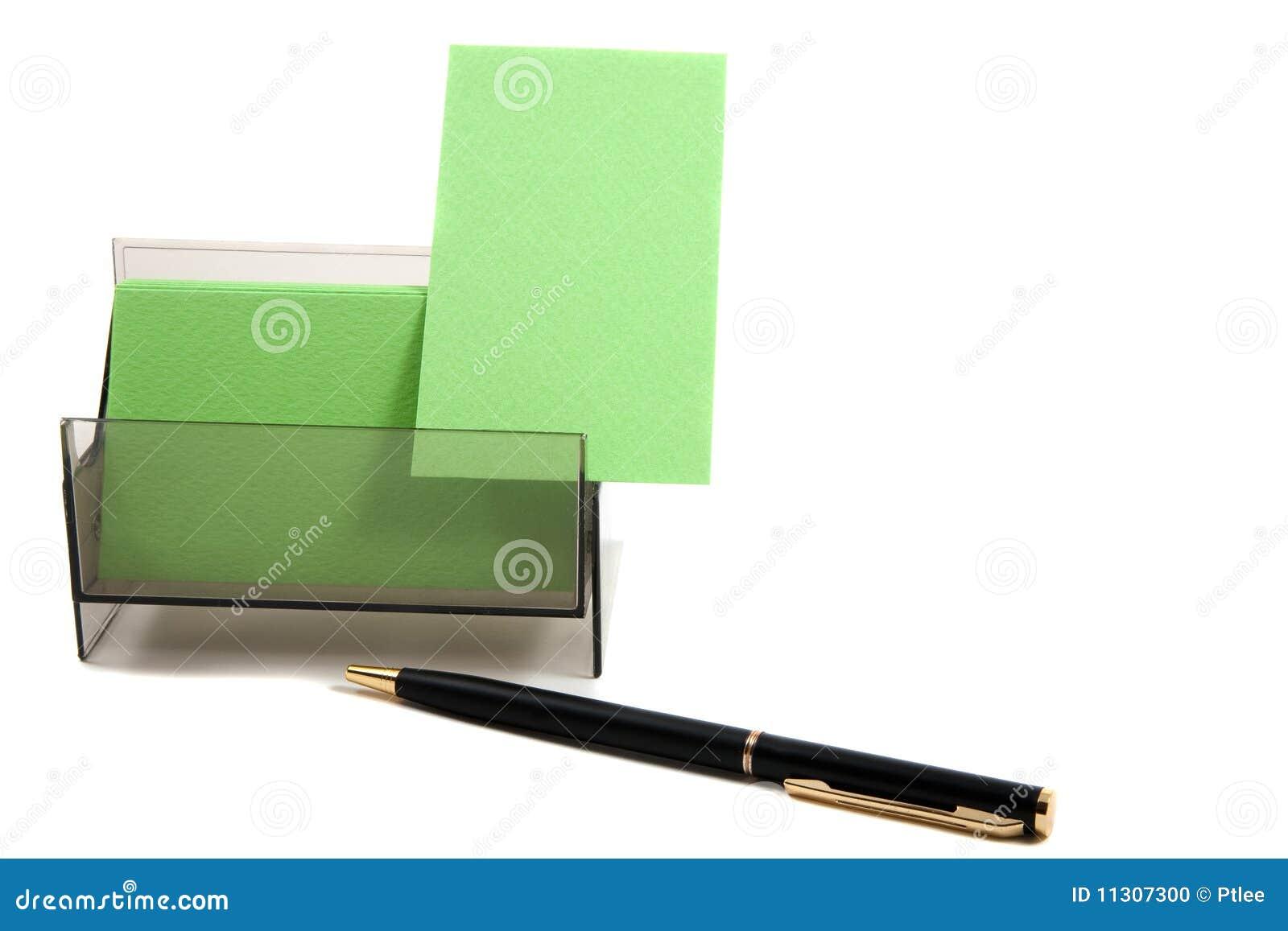 Grüne Visitenkarte in einem Kasten (mit Platz für Text)