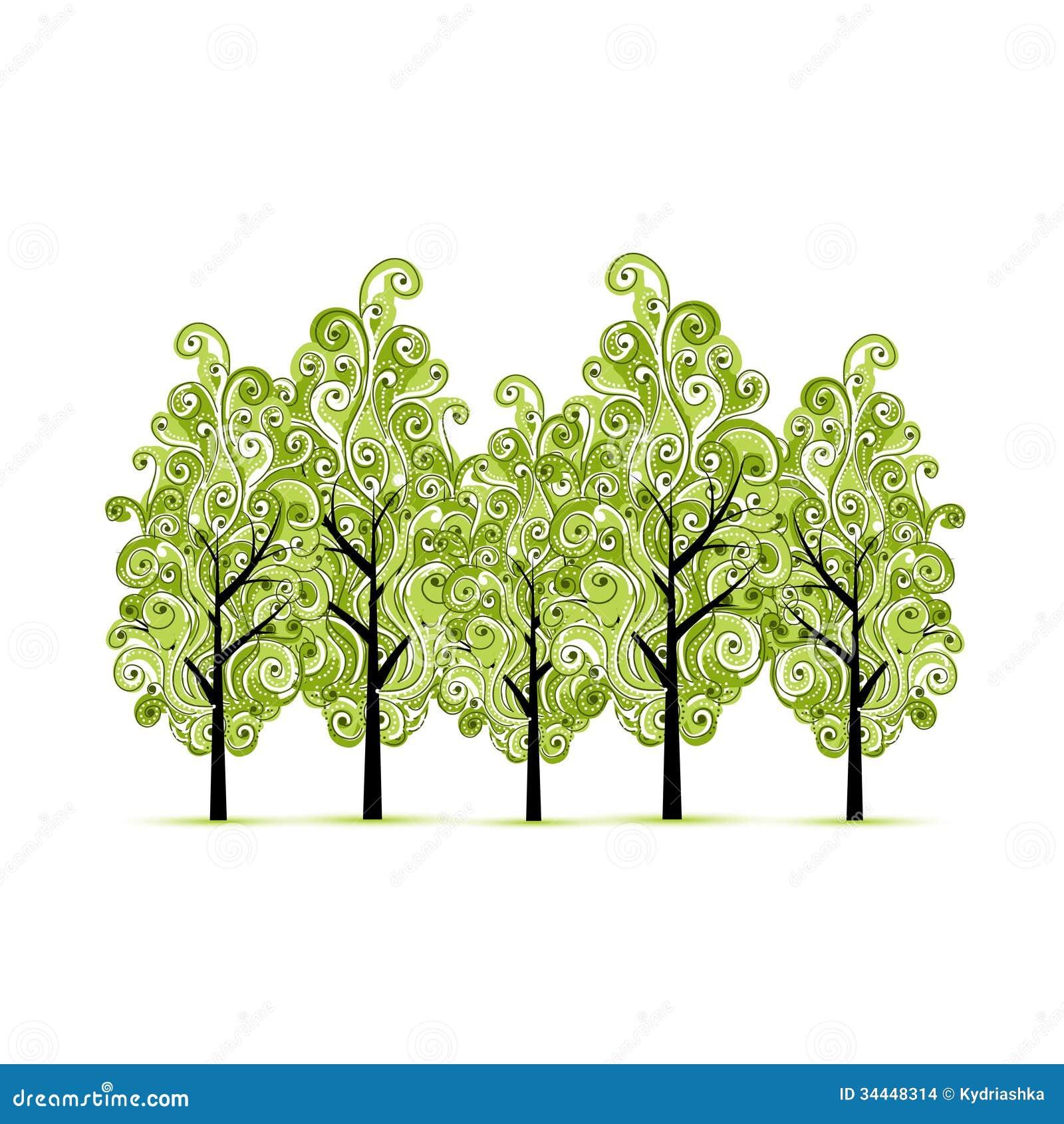Grüne Waldung mit Bäumen für Ihren Entwurf