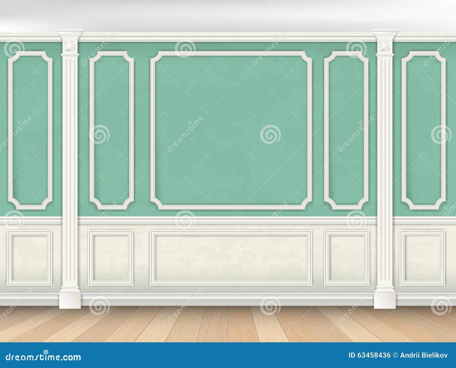 Grüne Wand Mit Pilastern
