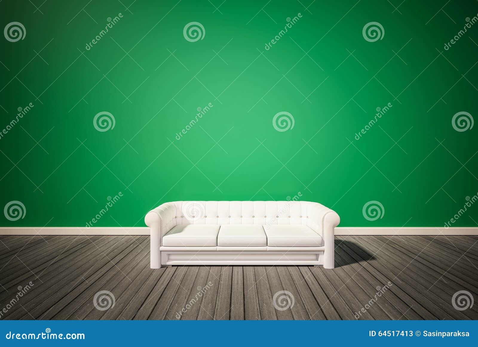 Dunkler Holzfußboden ~ Grüne wand und dunkler holzfußboden mit weißem sofa renderd d