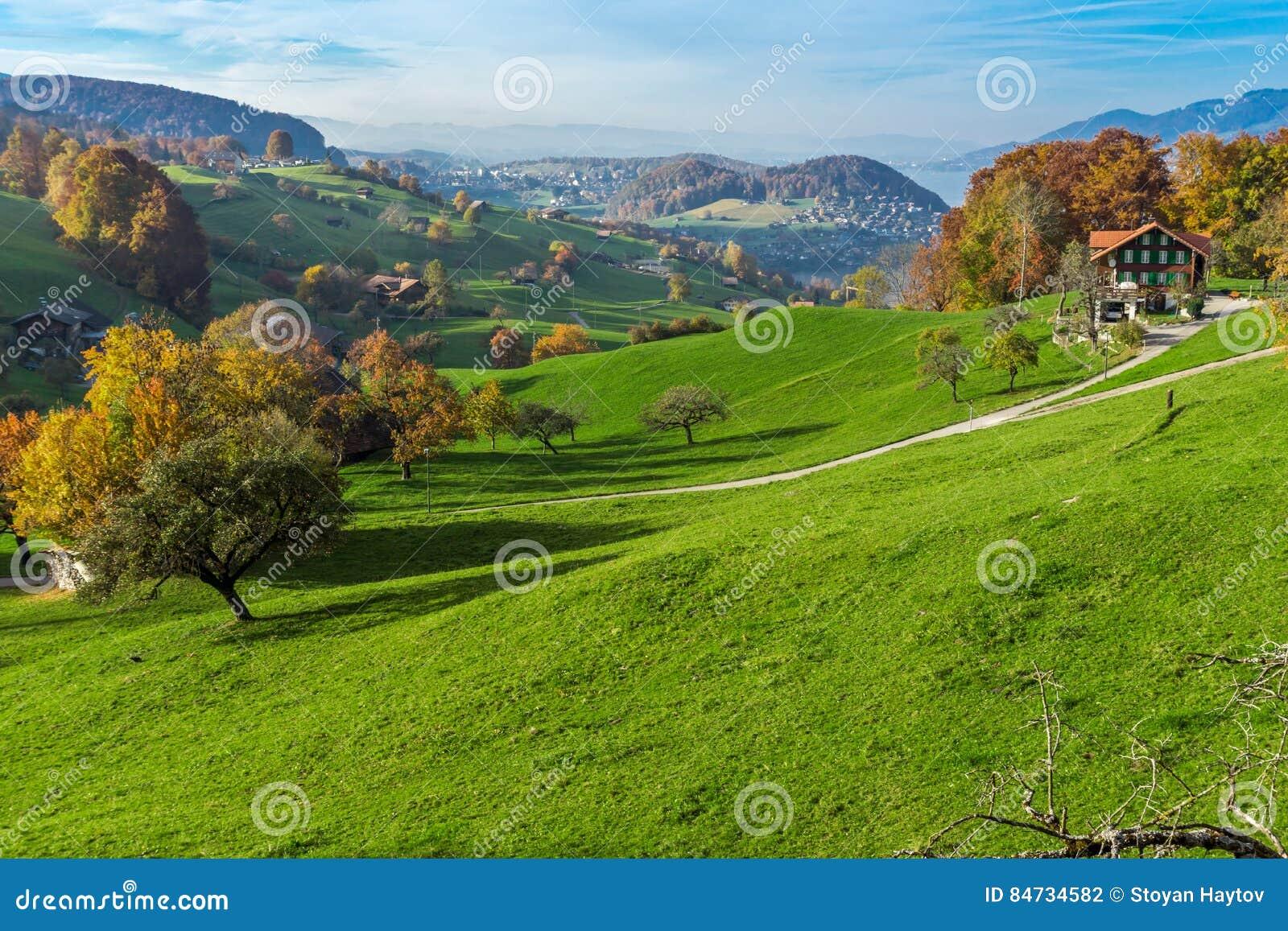 Grüne Wiesen und typisches die Schweiz-Dorf nahe Stadt von Interlaken