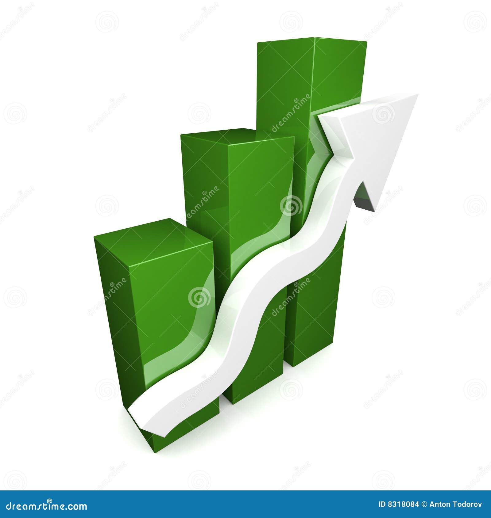 Grünen Sie Diagramm 3D mit weißem Pfeil