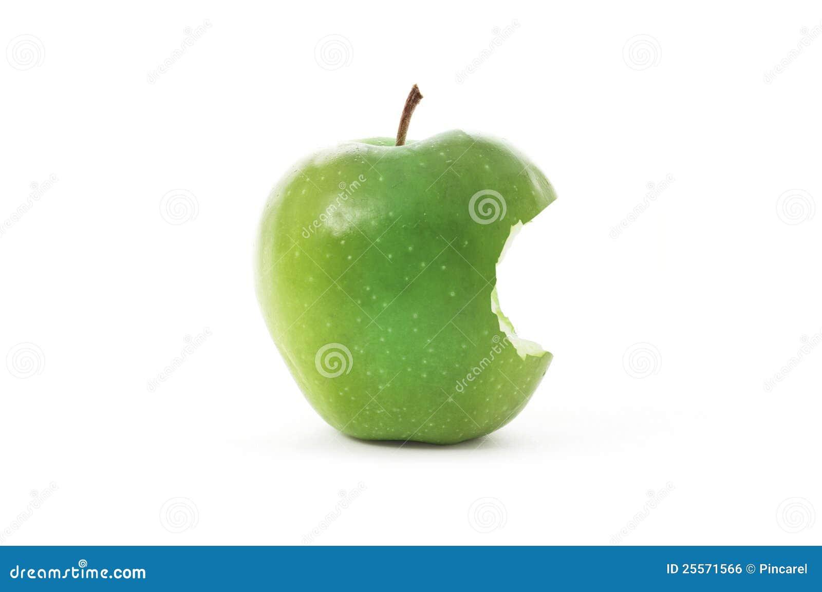 Grüner Apple mit Bissen