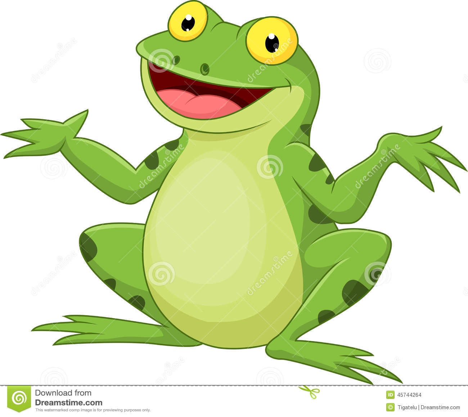 Grüner Frosch der lustigen Karikatur